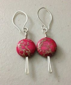 Pink impression jasper and sterling silver earrings - use labradorite coins