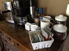 coffee bar display ideas - Google Search Home Bar Counter, Bar Counter Design, Coffee Bar Station, Home Coffee Stations, Beverage Stations, Coffee Bars In Kitchen, Coffee Bar Home, Bar Displays, Display Ideas
