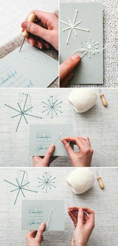 flacons de neige blancs à coudre, sur du papier, carte de voeux originale à fabriquer pour Noel