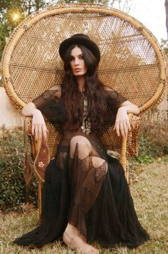 Sheer black lace long dress, with black hat  antique gold jewelry