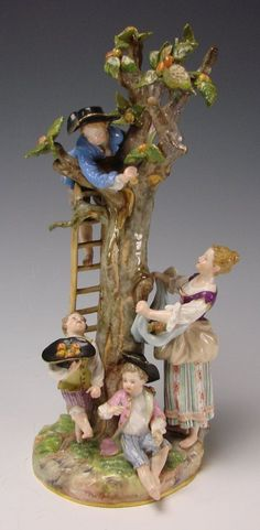 Antique Meissen German Porcelain Apple Pickers Children Group Figurine from hideandgokeep on Ruby Lane