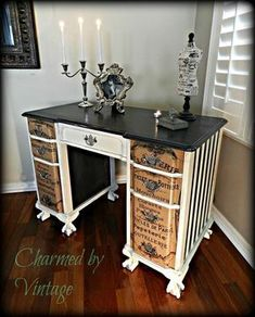 Artfully Refinished Desk - Before and After - Annie Sloan Chalk Paint® in Graphite and Old White with French Script decoupage on drawer fronts - (from Charmed by Vintage) Decoupage Furniture, Hand Painted Furniture, Distressed Furniture, Refurbished Furniture, Paint Furniture, Repurposed Furniture, Furniture Projects, Furniture Making, Furniture Makeover