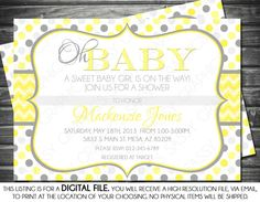Baby Shower Invitation - Polka Dot, Chevron, Yellow, Gray, Oh Baby, Printable, Digital on Etsy, $13.94 AUD