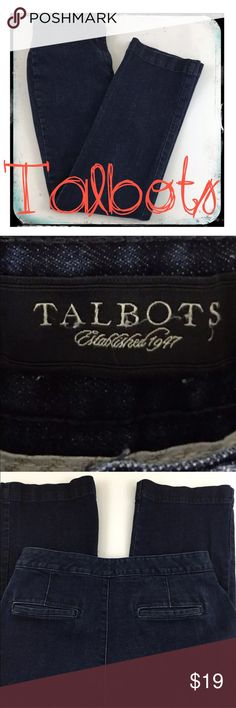 Talbots Women's Denim Trousers Boot Cut Talbots Women's Denim Trousers Boot Cut Size 8 Style: Trousers Color: Dark Blue  Small snag on right front Talbots Jeans Boot Cut