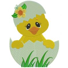 Little Chick Hatching From The Egg With Flower Filled Machine Embroidery Digitized Design Pattern #easter #embroidery #applique #chick
