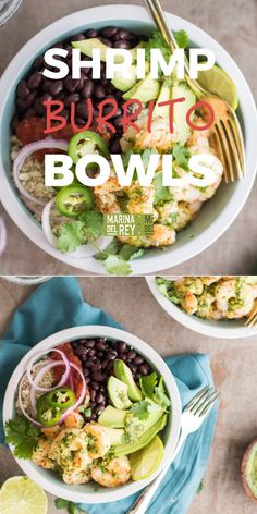 Healthy, low carb cilantro lime shrimp burrito bowls, topped with black beans, avocado, and salsa. this low carb shrimp recipe uses cauliflower rice as Low Carb Shrimp Recipes, Seafood Recipes, Mexican Food Recipes, Diet Recipes, Vegetarian Recipes, Cooking Recipes, Healthy Recipes, Healthy Recipe Videos, Supper Recipes