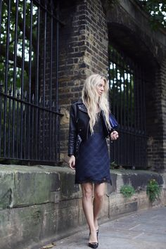 5 inch and up: ACNE jacket, ZARA dress, VALENTINO bag, KURT GEIGER shoes, NOEMI KLEIN ring. Love the Zara dress