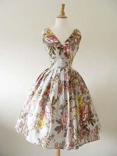 50s Vtg Style Twirl Floral Pinup Swing Dress Medium **NEW COLOR**
