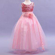 207c14689e1db9   21.73  Kids Girls  Bow   Dresswear Jacquard Sleeveless Cotton   Polyester  Dress Green. Strik JurkenGlitter OptochtRoze ZomerKleine MeisjesMini ...
