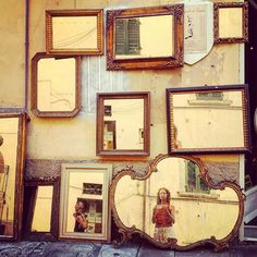 #selfportrait in #mirrors #fleamarketfinds #foundinitaly #collection #reflection #antiqueframes #goldleaf