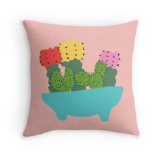 cacti bouquet / red bubble throw pillow