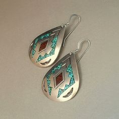 A Large Impressive Old Pair of Vintage Signed Charlie Singer #NativeAmerican #NavajoEarrings in a Raindrop Motif, entirely Handcrafted in Solid