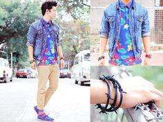 City Tropics by David Guison Polo Shirt Style, Style Me, Male Fashion, Fashion Trends, Tropical, Denim, City, Boys, Jackets