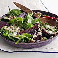 Spinach salad with beets,  goat cheese and quinoa. Yum! The only change I made was to maple-glaze my walnuts. Delicious!