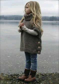 Little girls cowl neck button shawl