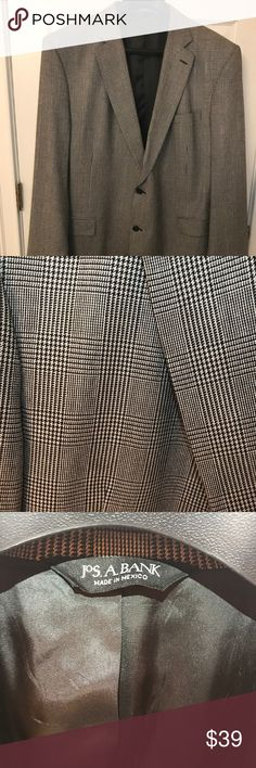 """Jos. A. Bank Gray & Black Plaid Sport Jacket - 50X Jos. A. Bank Gray & Black Plaid Sport Jacket. Size 50X. Two Button front. Single vent back.           When laid flat Measurements: Shoulder to Shoulder: 21"""" Pit to Pit (Chest): 22"""" Waist: 20.5"""" Arm Length (Shoulder Seam to Hem/Outside Arm): 27.5"""" Bottom of Collar to Hem: 34.5""""                                     52% Silk, 48% Wool. Great condition. Thoroughly inspected. No stains, snags, rips, defects, etc. Perfect sport jacket to wear with…"""