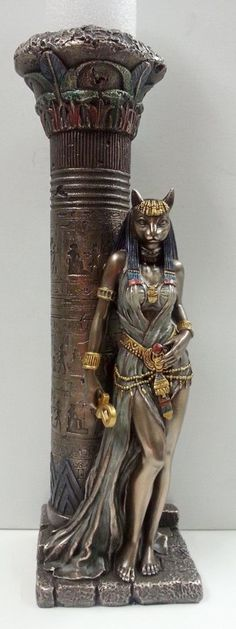 Egyptian Goddess Bast Bastet Cat Statue Leaning on Candle Pillar Ancient Egyptian Religion, Egyptian Mythology, Egyptian Goddess, Ancient Aliens, Bast Goddess, Egyptian Cats, Cat Statue, Egypt Art, Anubis