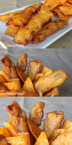 """This Nacho Doritos Battered Bacon is """"nacho"""" average bacon strip! Finally, a satisfactory way to eat my bacon covered in CHEESE. Bacon Recipes, Brunch Recipes, Appetizer Recipes, Breakfast Recipes, Snack Recipes, Cooking Recipes, Doritos Recipes, Yummy Appetizers, Breakfast Ideas"""