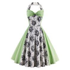 4a5925f9254a5c Vintage Halter Floral Flare Dress