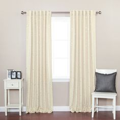 "Amazon.com: Best Home Fashion Star Print Thermal Insulated Blackout Curtains - Back Tab/ Rod Pocket - Beige - 52""W x 84""L - (Set of 2 Panels): Home & Kitchen"