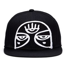 Haculla 'Minds Eye' embroidery appliqué snapback cap ($85) ❤ liked on Polyvore featuring men's fashion, men's accessories, men's hats and black