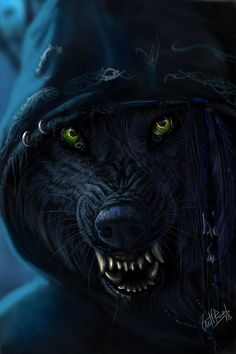 Daryl's wolf form is always on its hind legs. Occasionally he will run on all fours but he keeps a basic muscular human figure with the wolf details. Anime Wolf, Fantasy Kunst, Fantasy Art, Werewolf Art, Fantasy Wolf, Vampires And Werewolves, Wolf Spirit, Big Bad Wolf, Creatures Of The Night