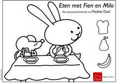 Kleurplaat 'Eten met Fien en Milo' - Pauline Oud Illustraties - Clavis Uitgeverij - Lily and Milo