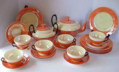 Vintage Phoenix China 21 Piece Tea Dessert Snack Plate Set Orange Luster Ware #PhoenixChina