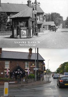 The Liver, a pub in Waterloo, seen here in the 1920s and today.