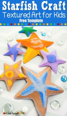 Kids can make a textured starfish craft that pops out to look like the real thing using our free craft template. With sandpaper and paint, you can make these with your kids to enjoy on on a table or string them into a garland for ocean-themed decor! Summer Crafts For Kids, Summer Activities For Kids, Craft Projects For Kids, Art For Kids, Art Projects, Craft Ideas, Kid Art, Play Ideas, Holiday Activities