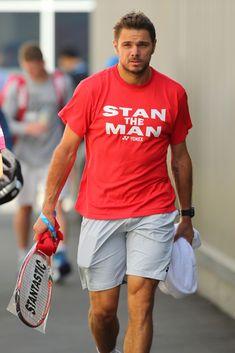 Stanislas Wawrinka walking to a practice session during the 2015 Australian Open. The tournament's defending champion, Wawrinka lost to eventual winner Novak Djokovic in the Semi-Finals.