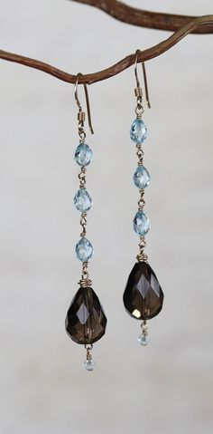 Blue Topaz and Gold Filled Earrings - Love this idea but the site has long disappeared.  Idea only!!!