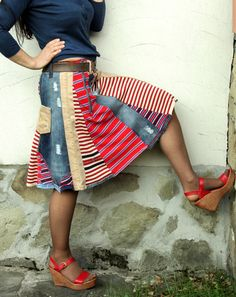 Crazy recycled jeans denim striped skirt van jamfashion op Etsy