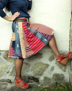 Crazy recycled jeans denim striped skirt van jamfashion op Etsy