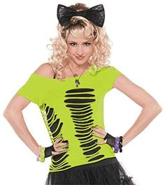 decade day outfits Accessories - Wigs, Leggings, Fingerless Gloves and More! - Party City Now I know what to do with Amanda's ruined Shirts - perfect for decade days 80s Party Costumes, 80s Halloween Costumes, 1980s Costume, 80s Party Outfits, Neon Outfits, Glow Party Outfit, Costume Ideas, Look 80s, Corte Y Color