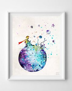 Little Prince, The Little Prince Type 2 Print - Inkist Prints Watercolor Artwork, Watercolor Illustration, Artwork Prints, Poster Prints, Posters, Poster Wall, The Little Prince, Free Prints, Types Of Art