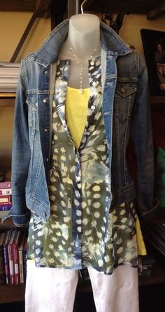 Cabi Avery Tunic Top over yellow cami and white jeans, under jean jacket