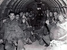 British paratroopers in a C-47 transport plane, bound for Holland in Operation MARKET GARDEN, Sept 1944