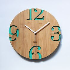 Retro Green Bamboo Wall Clock Numeric Cutter by HOMELOO on Etsy, $49.99