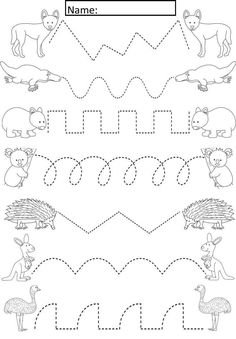 Australian Animals Tracing Lines Activity For Early Years/Special Needs Cute ac. - Australian Animals Tracing Lines Activity For Early Years/Special Needs Cute activity where studen - Preschool Writing, Preschool Learning Activities, Free Preschool, Kindergarten Worksheets, Worksheets For Kids, Kids Learning, Preschool Tracing Worksheets, Preschool Activity Sheets, Preschool Worksheets