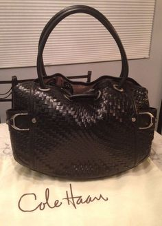 Cole Haan Genevieve Woven Leather Saddle Weave Hobo Tote Satchel Hand Bag Purse #ColeHaan #TotesShoppers GORGEOUS!!! BEAUTIFUL BLACK WOVEN BAG!!! EXCELLENT CONDITION!!! SALE!!! WOW!!!