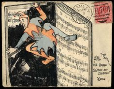 1907 (Jan. 3rd) superbly executed pen and ink and watercolour envelope with an unusual illustration depicting a clown apparently painting over a page in a music book and inscribed 'COMING HOME IS SHE', sent from Bramley, Yorks., to Sutton on Derwent