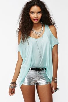 Cold Shoulder Top in Mint    i love cutout tops and cannot wait to dive into metallics.