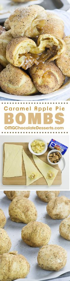 caramel apples These awesome Caramel Apple Pie Bombs are the easiest dessert recipe (or at least apple pie recipe) youve ever made, and they are insanely GOOD! Brownie Desserts, Easy Desserts, Delicious Desserts, Yummy Food, Chocolate Desserts, Desserts Caramel, Chocolate Caramels, Baking Desserts, Cheap Chocolate