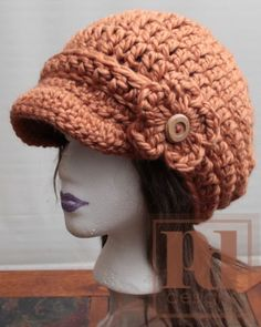 free crochet newsboy hat patterns for women için resim sonucu Crochet Newsboy Hat, Crochet Adult Hat, Crochet Hat For Women, Knit Or Crochet, Cute Crochet, Crochet Scarves, Crochet Crafts, Crochet Projects, Knitted Hats