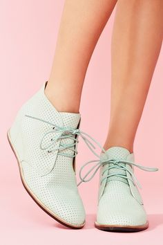 Perforated Wedge Boot in Mint ~ it looks like refreshing mint ice cream! And I love a wedge boot because it offers height invisibly!