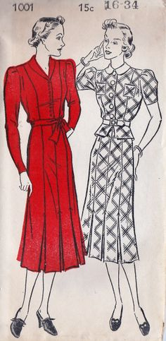 """1930s Misses Dress Vintage Sewing Pattern, New York 1001 bust 34"""" uncut Also possible? With more alterations maybe."""