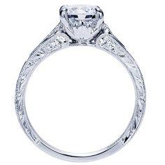 Platinum Diamond Straight Engagement Ring | Gabriel & Co NY | ER8786PT3JJ
