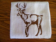 Northwoods Deer Silhouette Embroidered Tea Towel Kitchen Towel Handmade Housewares