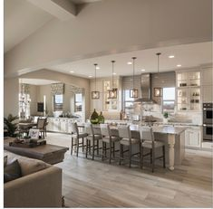 Home Remodeling Renovation New Homes for Sale in Hawthorn Manor, AZ - Maracay Homes Modern Farmhouse Kitchens, Farmhouse Style Kitchen, Home Decor Kitchen, Kitchen Living, Interior Design Living Room, Home Kitchens, Kitchen Ideas, Living Room And Kitchen Together, Remodeled Kitchens